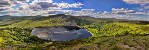Panorama of Lough Tay, Co. Wicklow, Ireland.