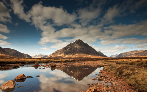 Buachaille Etive Mor meaning the Great heardsman of Etive a mountain at the head of Glen Etive inthe Scottish Highlands.