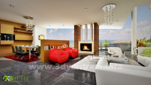 Yantram 3D Living Interior Rendering
