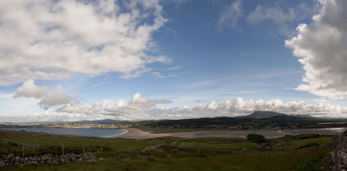 Sheephaven Bay, Dunfanaghy village, Killahoey Strand and Muckish Mountain. Taken from the road leading down from Horn Head.