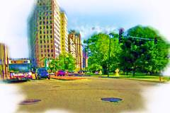 Lincoln Park Avenue at the bus stop in Chicago