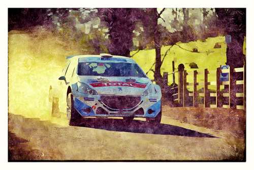 A shot from the 2014 Circuit Of Ireland Rally shot by me that has been edited to appear as a brushed painting.