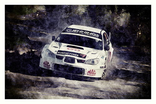 A shot of Gary Jennings from the 2014 Circuit Of Ireland Rally shot by me that has been edited to appear as a brushed painting.