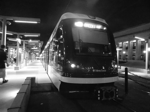 Late night metro transit light rail train, resting between runs, Union Depot, Saint Paul, Minnesota.