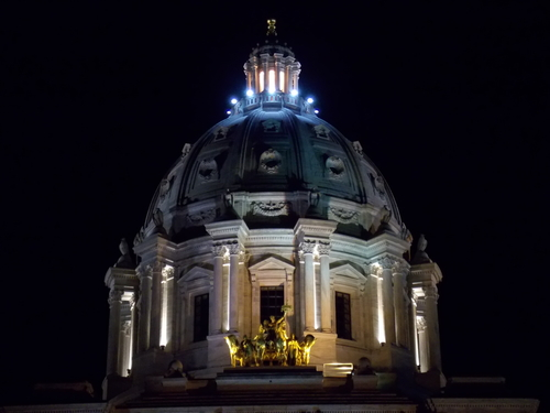 Minnesota Capitol Dome and Quadriga at night.