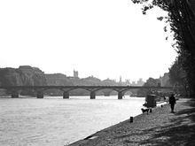 Morning view of the River Seine in springtime Paris looking towards the Pont des Arts near the Louvre from the Rive Gauche.