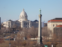 Looking towards the Minnesota State Capitol from the Cathedral of Saint Paul.