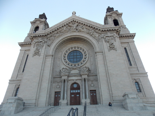 Looking up at the front of the Cathedral of Saint Paul from the street below
