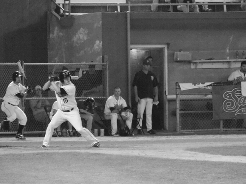 Saint Paul Saints at bat, Midway Stadium.