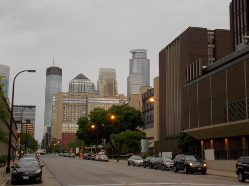 Hennepin County Medical Center and downtown Minneapolis in the early morning light.