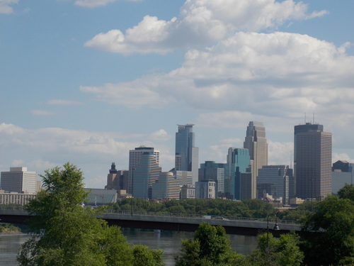 Looking south towards Minneapolis from the west bank of the Mississippi River.