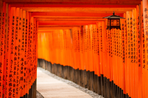 Fushimi Inari Shrine (伏見稲荷大社, Fushimi Inari Taisha) is an important Shinto shrine in southern Kyoto. It is famous for its thousands of vermilion torii gates, which straddle a network of trails behind its main buildings.