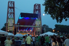 The main stage, full moon and excited crowd at Minnesota's Irish Fair.