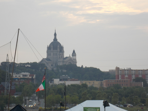 The Cathedral Dome towering above the  tents and marquees of Irish Fair.