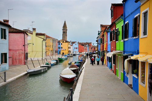 The cute, colorful houses of Burano Island on a late winter day.