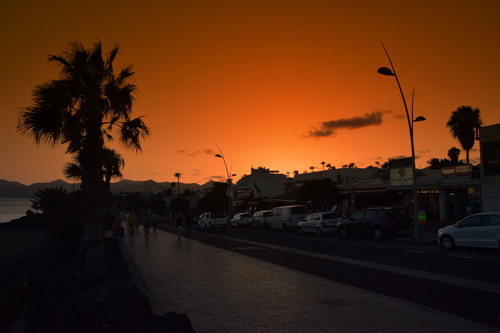 Sunset at Puerto Del Carmen, the capital of Lanzarote , Canary Island.
