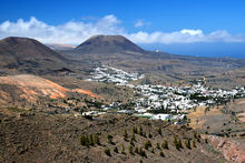 Haria in Lanzarote, called the Valley of 1,000 palm trees. It has been the custom for many years to plant a new palm tree for every new baby born in the town.Playa Famara.