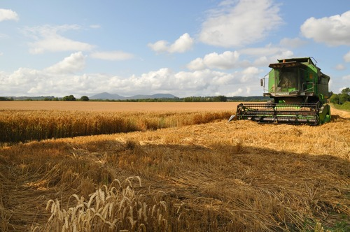 Break time during the harvest on a farm near the village of Cappoquin, Co. Waterford, Ireland.
