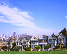 Late morning view in early November of the 'Painted Ladies' of Alamo Square in San Francisco, California.