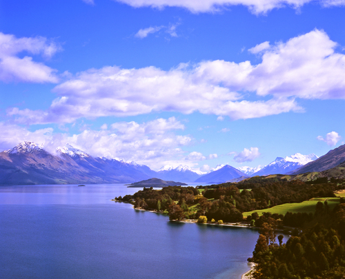 View of Lake Wakatipu and the mountains of the Southern Alps along the Queenstown road to Glenorchy in New Zealand's South Island.