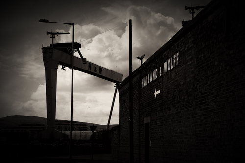 Enterance to the world famous shipyard in Belfast, Northern Ireland. Home of the World famous ship the 'Titanic'