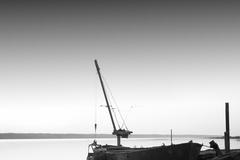 Black and white long exposure seascape scene with beautiful sky and sea. Black sea, Odessa, Ukraine, 2013