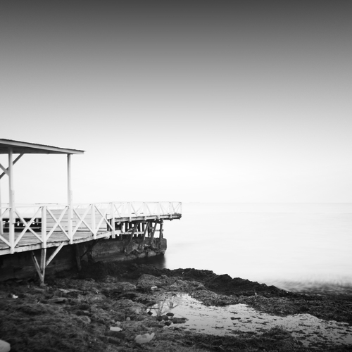 Black and white long exposure seascape scene with beautiful sky and sea. Black sea, Odessa, Ukraine, 2013