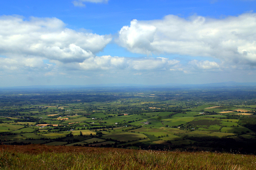 A mid-summer picturesque view from the summit of one of the mountain's in the Ballyhoura mountain range.