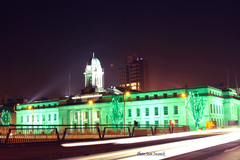 Lit up in green for St Patrick's Day celebration's.