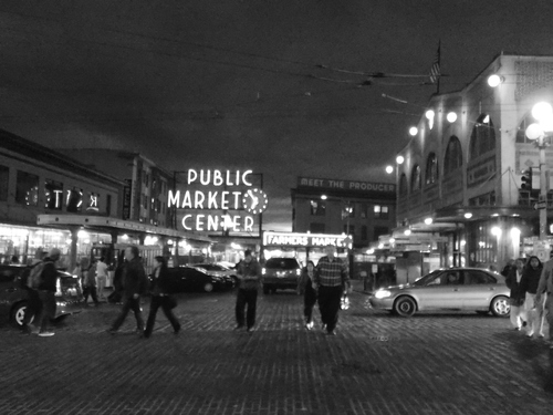 Pike Plake Market at night in black & white