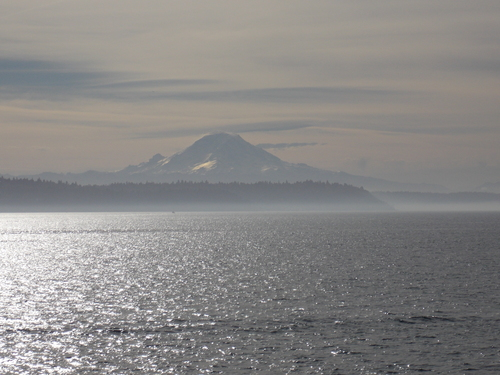 Mount Rainier rises above the puget sound while the morning mists kiss the shores of West Seattle.