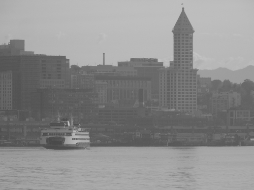 The historic Smith Tower & Washington State Ferry.