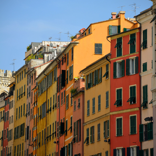 Colorful houses near Piazza Matteotti, Genoa.