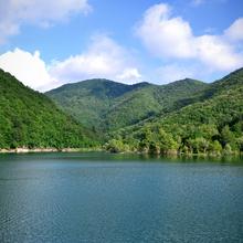 Val di Noci lake, an artificial lake near Montoggio, Genoa.