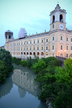 The Ducal palace (Reggia) reflected in the Parma stream in Colorno, a peaceful little town near Parma.