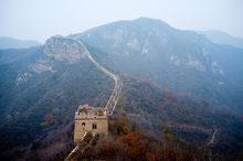 Unrestored part of the Great Wall on the mountains North-West from Beijing