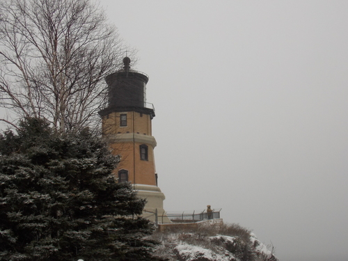 A lonely visitor gazes out over Lake Superior from Split Rock Lighthouse.