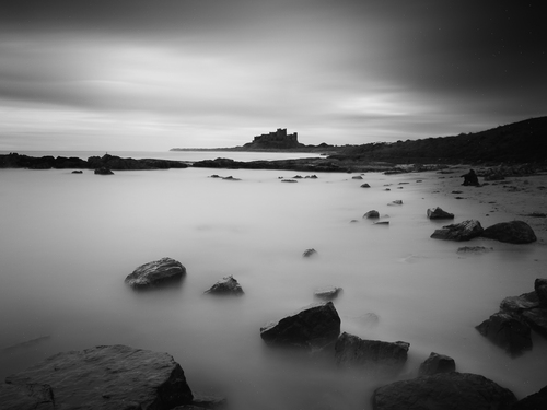 Bamburgh Castle from across the bay.