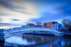 The Ha'penny Bridge, known later for a time as the Penny Ha'penny Bridge, and officially the Liffey Bridge, is a pedestrian bridge built in 1816 over the River Liffey in Dublin, Ireland.