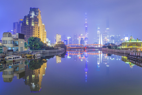Suzhou Creek and the Bund, Shanghai, China.