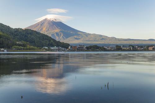 Mount Fuji and Lake Kawaguchi, Kawaguchi-ko, Yamanashi, Japan.