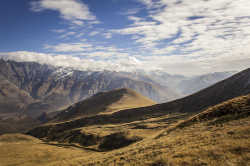 Kazbegi National Park, Stepantsminda, Caucasus Mountains, Georgia.