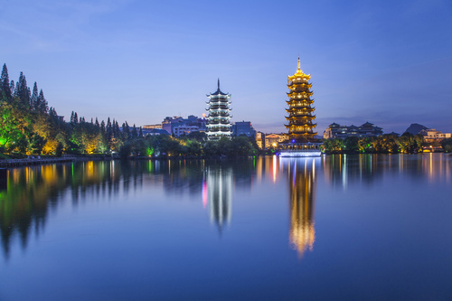 The Sun and Moon Pagodas, Shan Hu Lake, Guilin, Guangxi, China.
