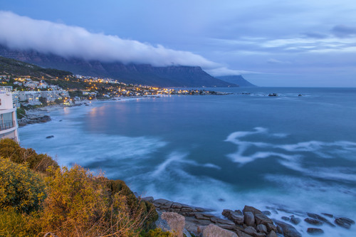 The Twelve Apostles and Camps Bay, Cape Town, Western Cape, South Africa.
