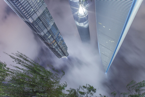 Jinmao Tower, Shanghai Tower and World Financial Centre, Pudong, Shanghai, China.
