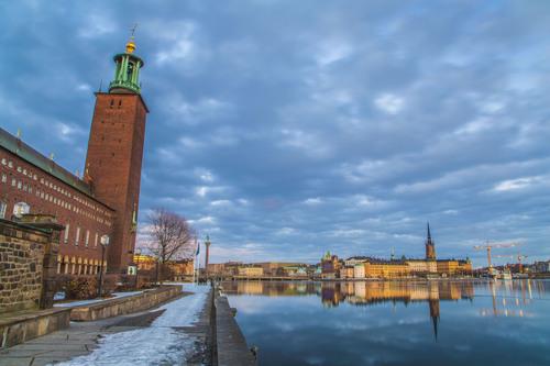 Lake Mälaren and Stadshuset (City Hall), Stockholm, Sweden.