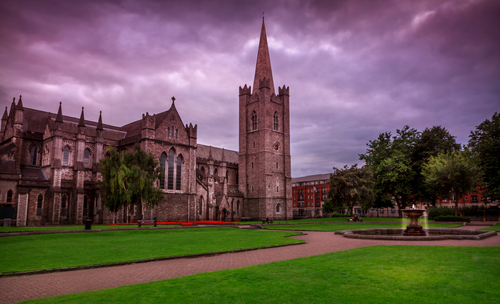 Saint Patrick's Cathedral in Dublin, also known as The National Cathedral and Collegiate Church of Saint Patrick, Dublin, or in the Irish language as Árd Eaglais Naomh Pádraig, founded in 1191,