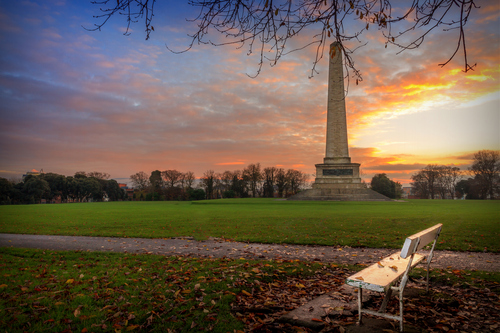 The Wellington Monument is an obelisk located in the Phoenix Park, Dublin, Ireland. The testimonial is situated at the southeast end of the Park, overlooking Kilmainham and the River Liffey.