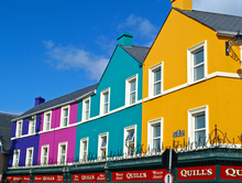 Spring sunshine helps to bring out the colours of the buildings in Kenmare, County kerry.
