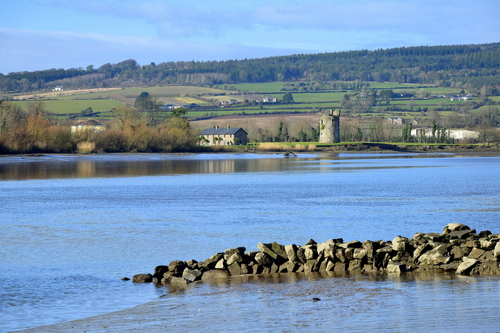 Rocketts Castle on the banks of the River Suir at Portlaw,Co. Waterford. This picture was taken from Mooncoin in County Kilkenny.